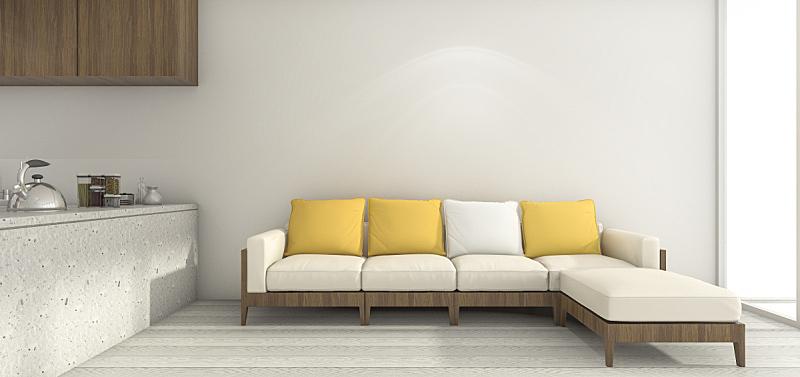 沙发,白色,黄色,极简构图,厨房,三维图形,主观视角,高视角,纹理效果,居住区