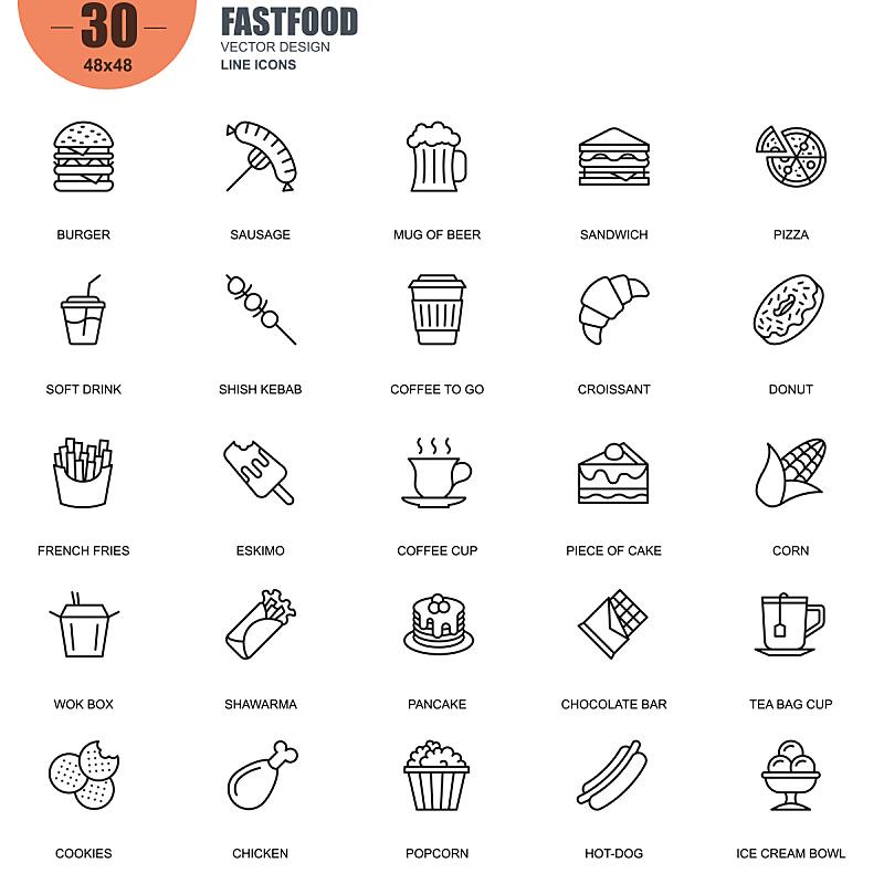 矢量,计算机图标,简单,家庭,线条,冰淇淋,薄烤饼,绘画插图,符号,牛角面包