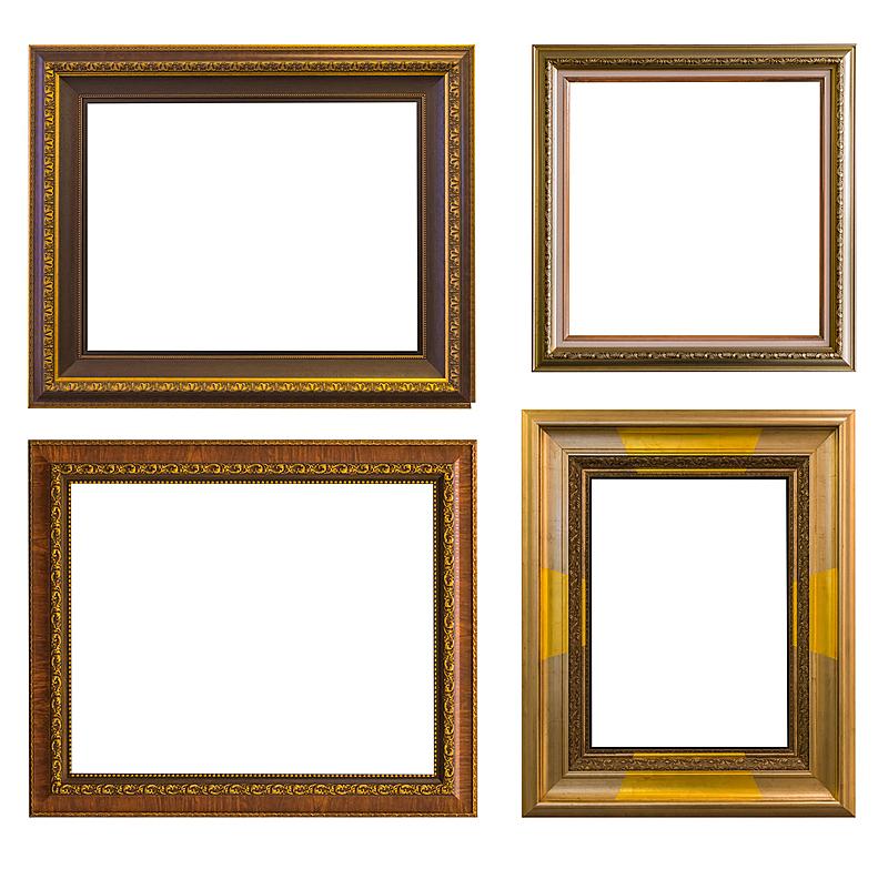 建筑结构,黄金,白色背景,分离着色,高雅,空白的,留白,水平画幅,形状,木制