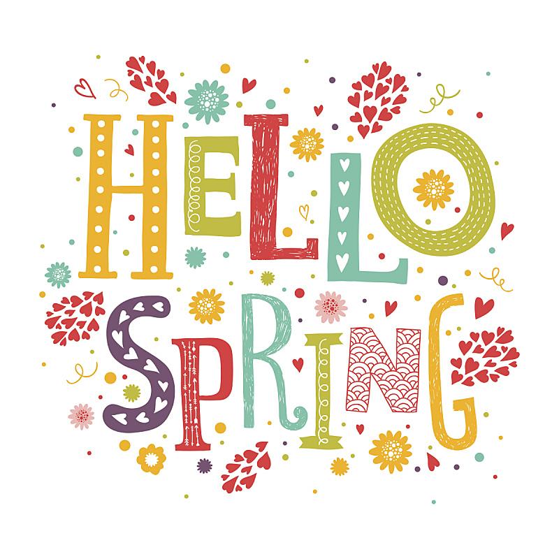 你好,春天,矢量,文字,华丽的,瓢虫,绘画插图,美,艺术