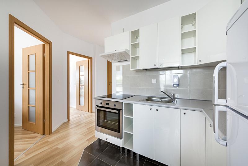 现代,白色,厨房,小的,室内设计师,新的,水平画幅,墙,无人,玻璃