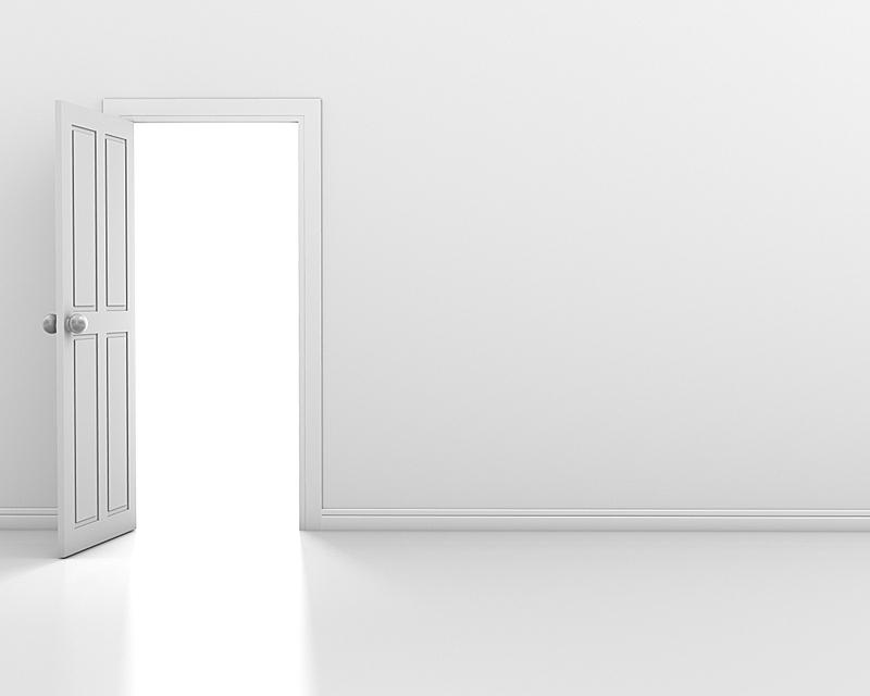 门,住宅房间,水平画幅,墙,自由,明亮,开着的,室内,计算机制图,白色