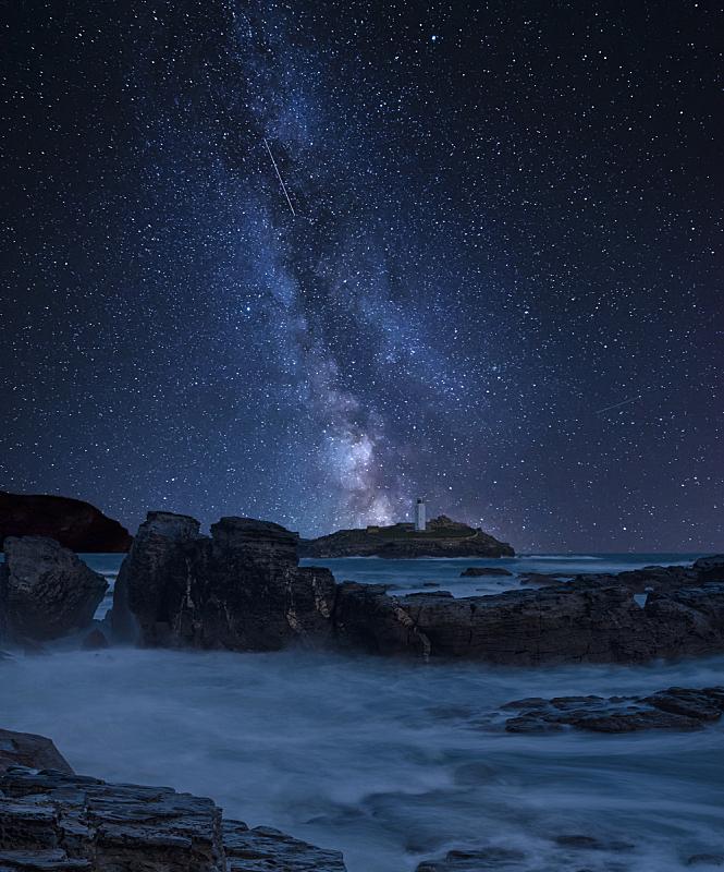 英格兰,海岸线,康沃尔,地形,银河系,灯塔,活力,在上面,合成图像,云
