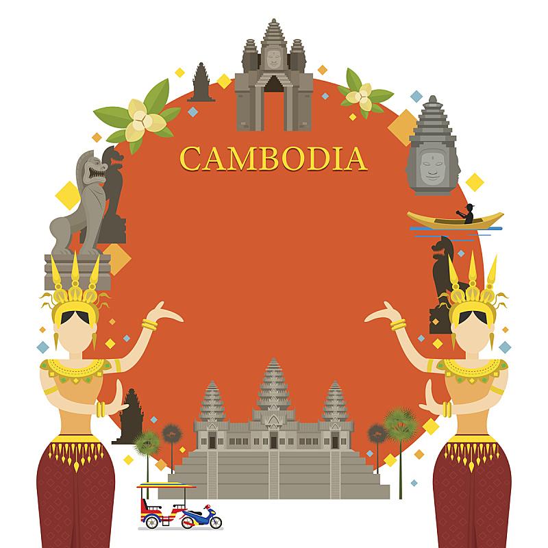 柬埔寨,传统舞,边框,著名景点,吴哥窟,天女,金边,世界遗产,高棉文明,暹粒