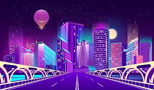 背景,城市,夜晚,矢量,霓虹灯,商务,暗色,公路,现代,河流