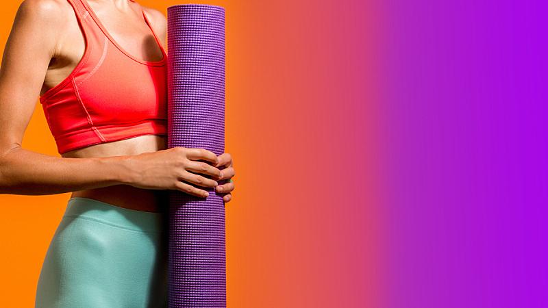瑜伽,女孩,留白,休闲活动,腿,健康,夏天,仅成年人,运动,彩色图片