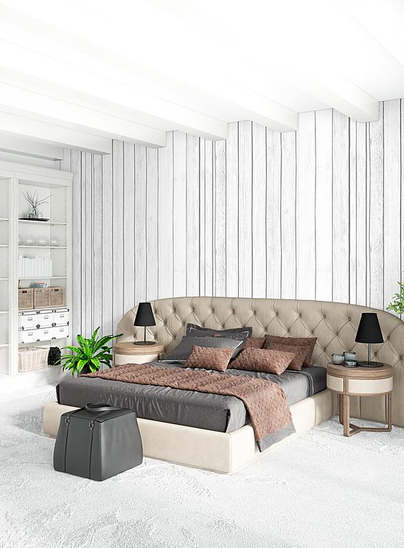 绘画插图,极简构图,木制,沙发,卧室,银色,白色,室内设计师,高雅