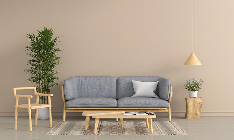 灰色,椅子,沙发,三维图形,起居室,室内,褐色,空的,泰国,地板