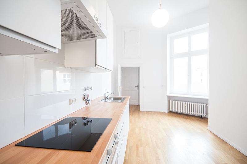 现代,房地产,室内,厨房,美,水平画幅,无人,巨大的,天花板,干净