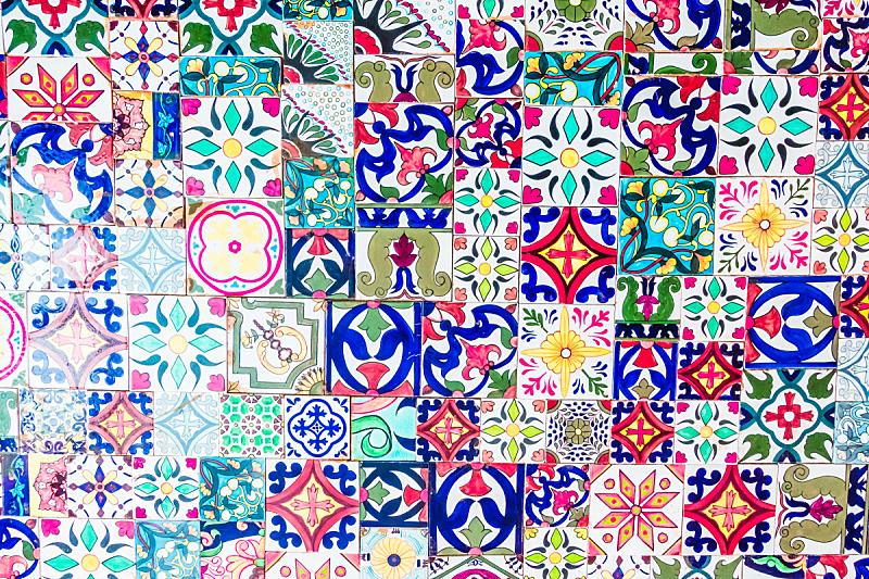 摩洛哥,瓷砖,镶嵌图案,纹理,水平画幅,无人,满画幅,多色的,摄影