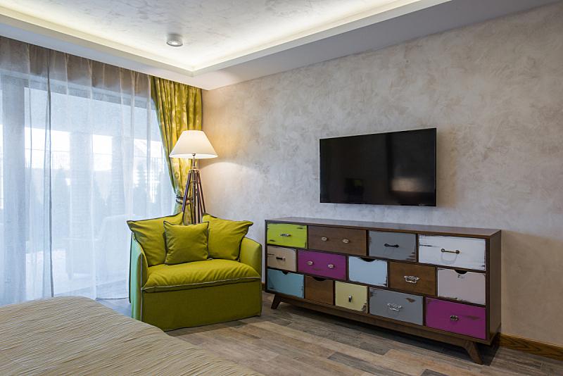 现代,住宅内部,高雅,怀旧风格,抽屉柜,抽屉,窗户,新的,水平画幅,绿色