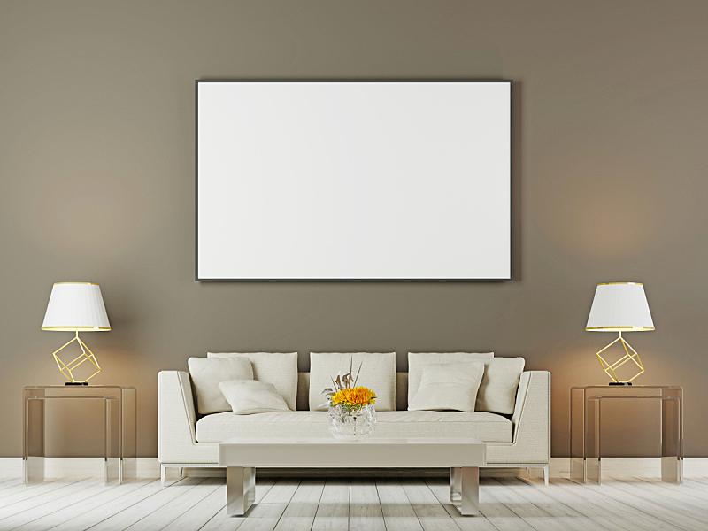 沙发,起居室,轻蔑的,褐色背景,枕头,正下方视角,白色,商务,空的,空白的
