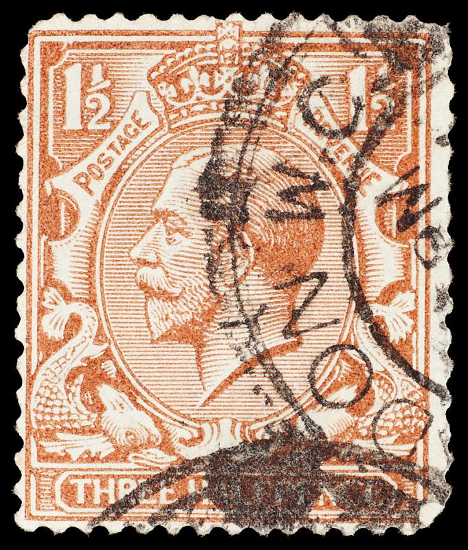 英国,邮票,george v,邮戳,垂直画幅,正面视角,高视角,侧面像,古老的,古典式