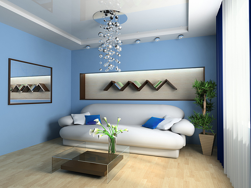 起居室,桌子,水平画幅,无人,蓝色,架子,灯,现代,沙发,室内