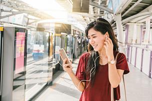 智慧,地铁,曼谷大众运输系统,城市,生活方式,手机,通勤者,乘客,亚洲,运输