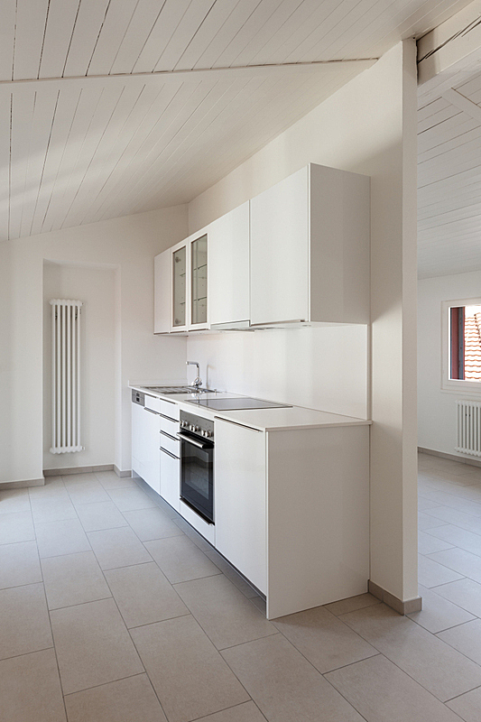 古老的,复式楼,厨房,散热器,垂直画幅,新的,墙,无人,家庭生活,天花板