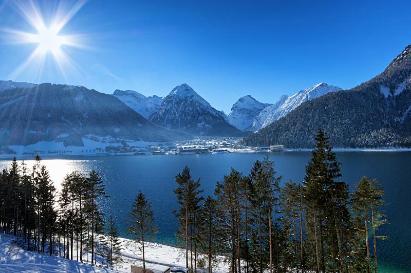 湖,冬天,山,阿尔卑斯山脉,阿亨湖,地形,奥地利,水,天空,水平画幅