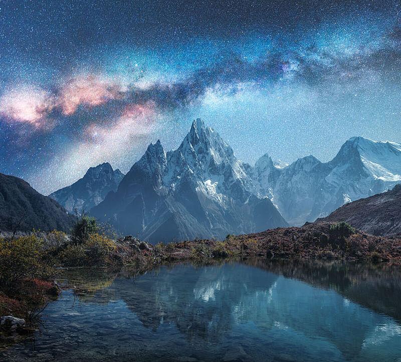 尼泊尔,雪,湖,岩石,天空,星系,夜晚,风景,喜马拉雅山脉,地形