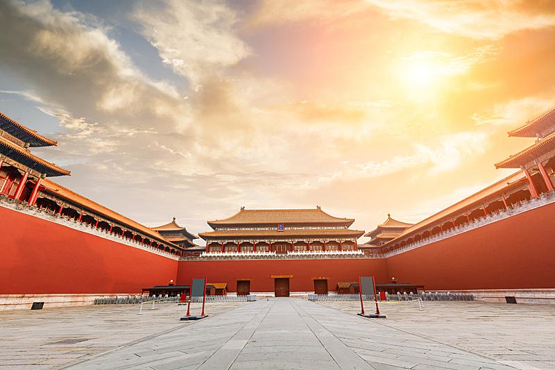 北京,过去,宫殿,故宫,亭台楼阁,天空,水平画幅,古老的,园艺展览,国际著名景点