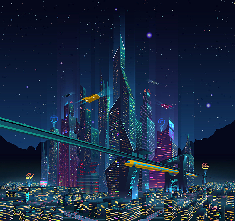 夜晚,城市,未来,布告栏,宏伟,霓虹灯,高速列车,光亮,技术,联系