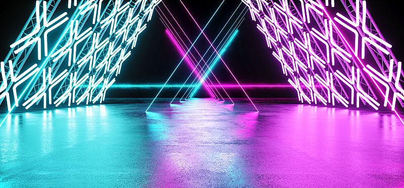 空的,隧道,三维图形,未来,霓虹灯,激光,蓝色,金属,出示,发光