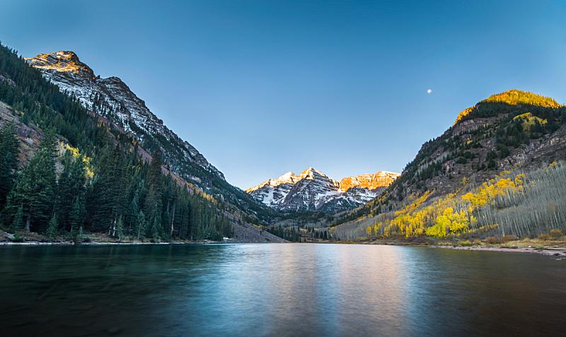 湖,秋天,玛尔露恩贝尔峰,水,美国西部,洛矶山脉,雪,马鲁贝尔湖,早晨,美洲