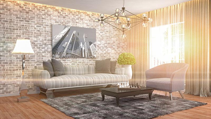 室内,起居室,绘画插图,三维图形,正面视角,褐色,座位,水平画幅,无人,灯