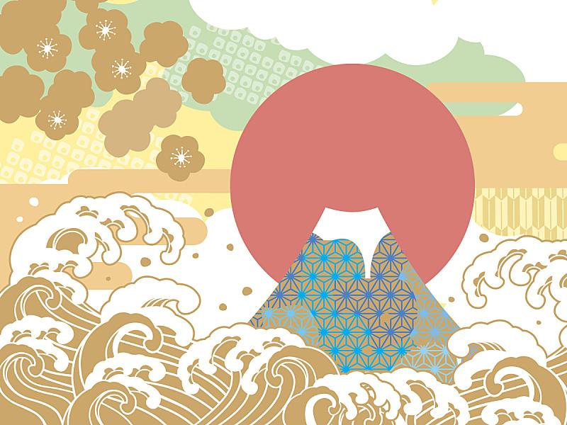 绘画插图,海洋,运气,富士山,新年,日本,新年前夕,亚洲,浪漫,美