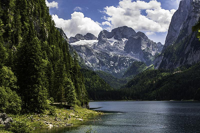 奥地利,哈尔施塔特湖,留白,水平画幅,无人,早晨,夏天,户外,交通方式