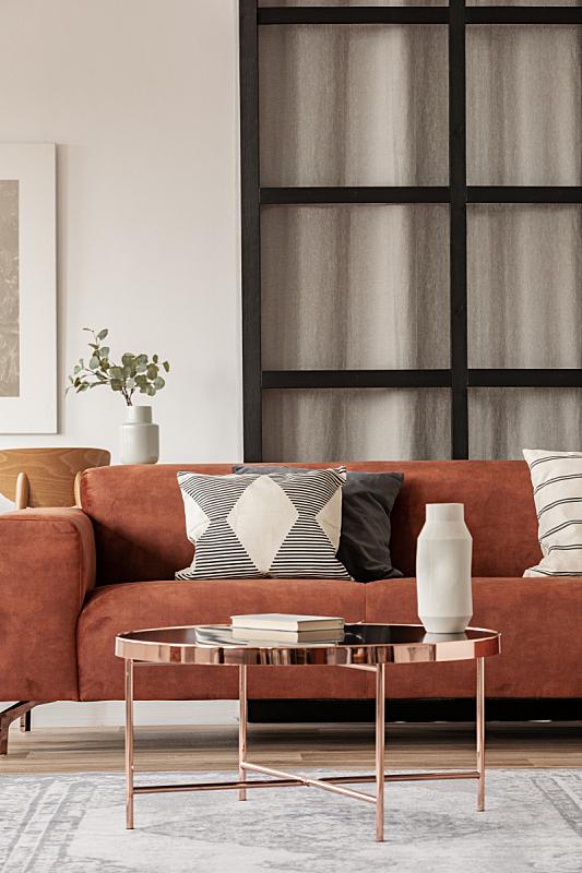 沙发,起居室,高雅,室内,枕头,墙,褐色,式样,角落,斯堪的纳维亚半岛