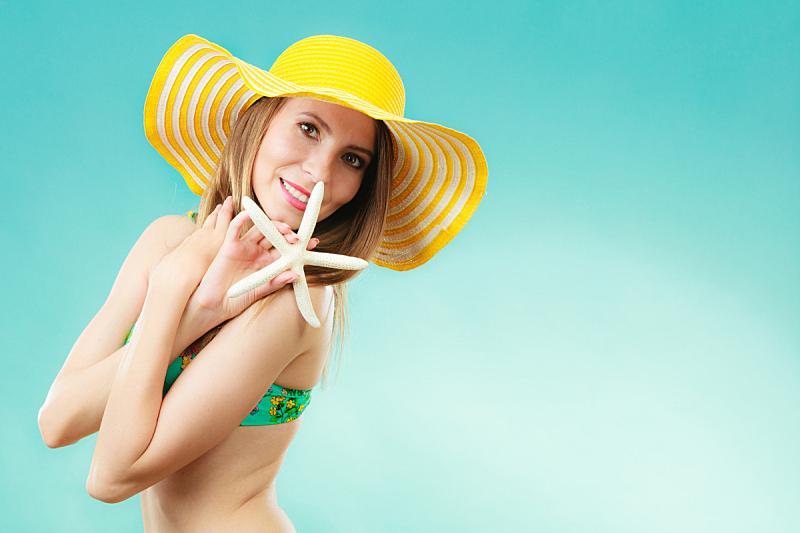 贝壳,女人,黄色,帽子,拿着,白色,阔边遮阳帽,美,水平画幅,夏天