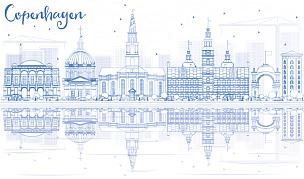 著名景点,城市天际线,哥本哈根,轮廓,蓝色,商务,城市生活,旅途,美术工艺,景观设计