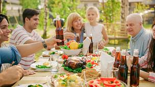 桌子,家庭,乐趣,游园会,巨大的,夏天,饮料,居住区,青年人,晚餐