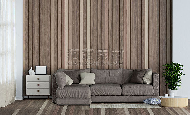 墙,三维图形,木制,起居室,斯堪的纳维亚人,室内设计师,前面,沙发,扶手椅,格子花纹