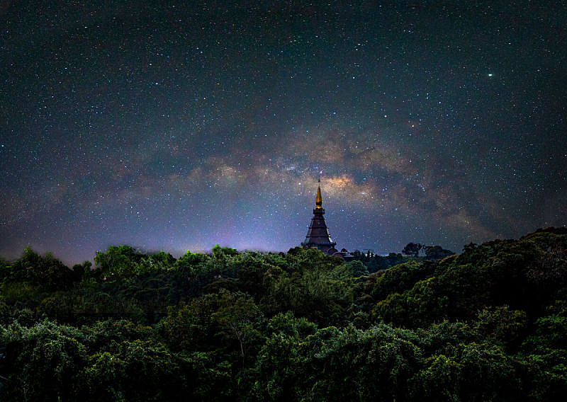 清迈省,银河系,暗色,曙暮光,泰国,行星,户外,天空,高处,星系