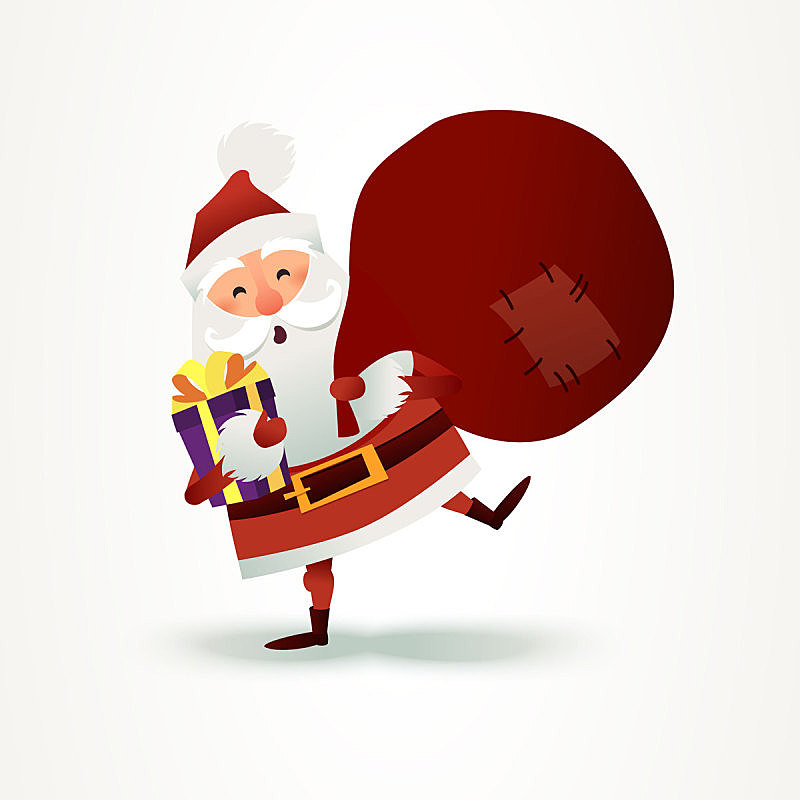 Santa Claus with sack full of gift and present box. Happy Christmas father cartoon character. Cute X-mas character for Holiday design. New year Greeting Card for invitation, congratulation. Flat vector illustration. Ho Ho Ho