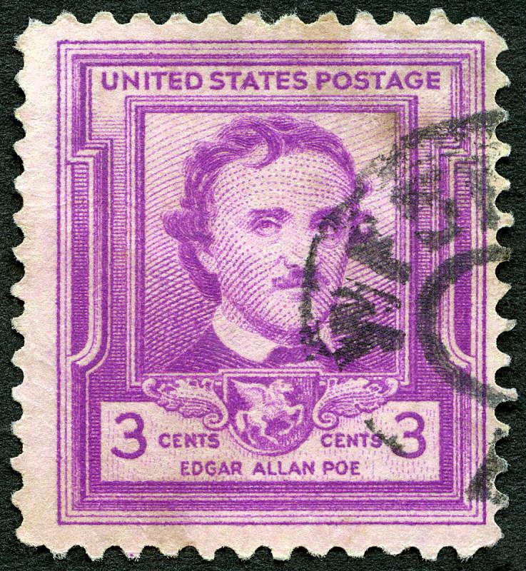 埃德加艾伦坡,美国,1949,评论家,诗人,邮戳,穿孔的,垂直画幅,古老的
