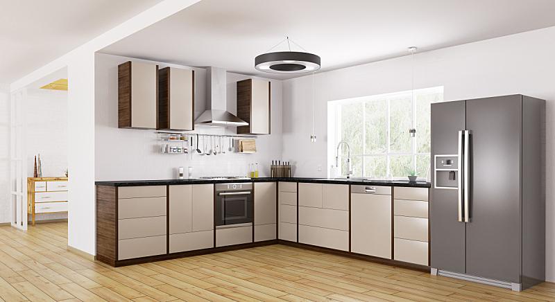 三维图形,室内,极简构图,厨房,冰箱,炊具,洗碗机,冰柜,并排,褐色
