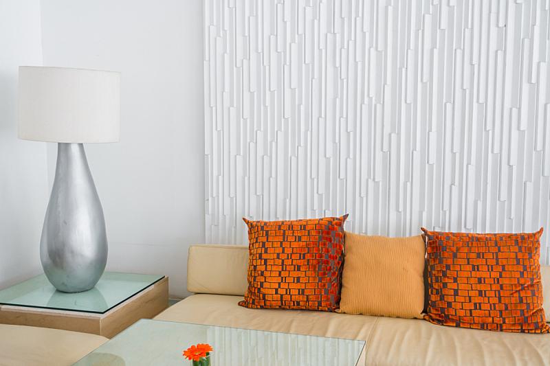 沙发,起居室,软垫,室内,水平画幅,橙色,华贵,无人,灯,家具