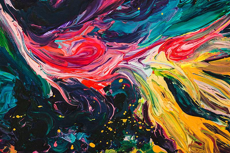 彩色图片,丙稀画,多色的,与众不同,大特写,特写,水,纹理效果,绘画插图