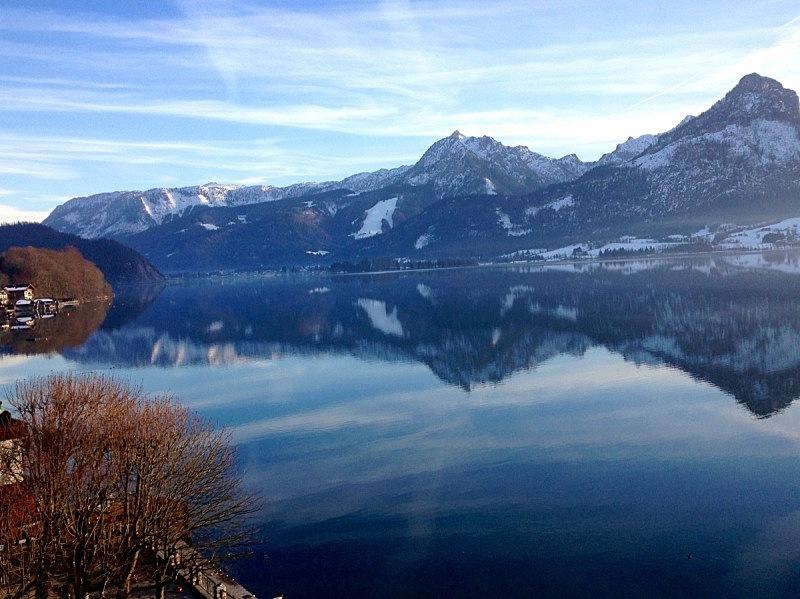 湖,甲板,沃尔夫冈湖,奥地利,水平画幅,冬天,无人,户外,摄影