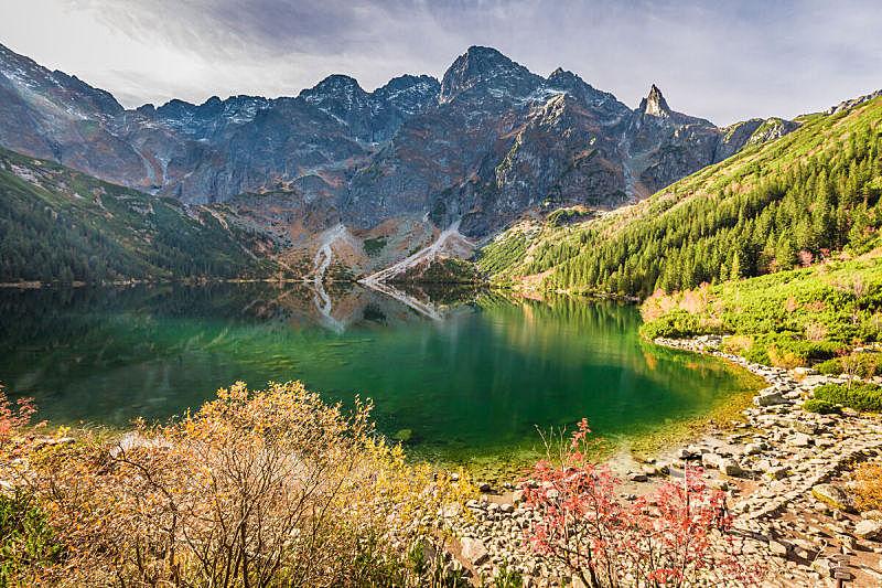 湖,秋天,山脉,黎明,非凡的,水,天空,美,水平画幅,山