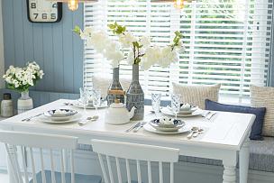 餐桌,蓝色,家庭生活,白色,传统,暗色,食品,泰国,烹调用具,餐具