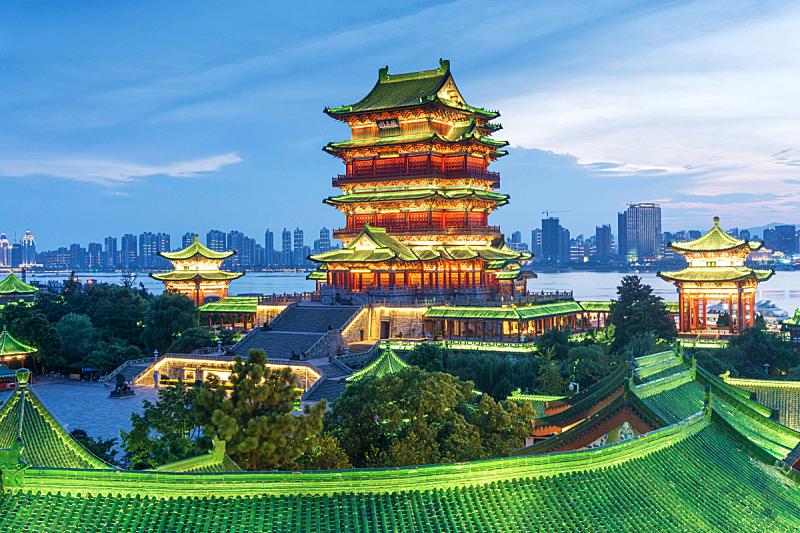 夜晚,滕王阁,南昌市,水平画幅,建筑,无人,蓝色,户外,都市风景,长江