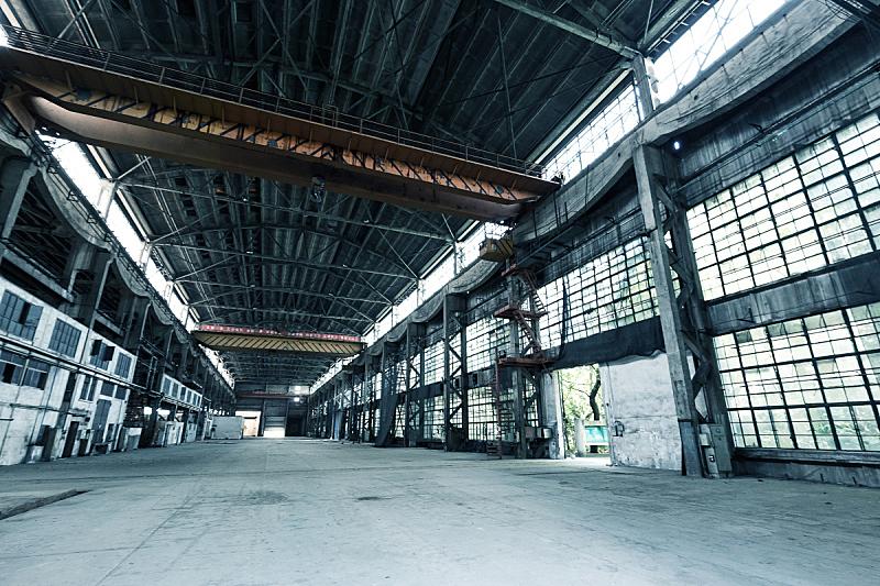 被抛弃的,车间,室内,水平画幅,无人,天花板,工厂,金属,生锈的,建筑业