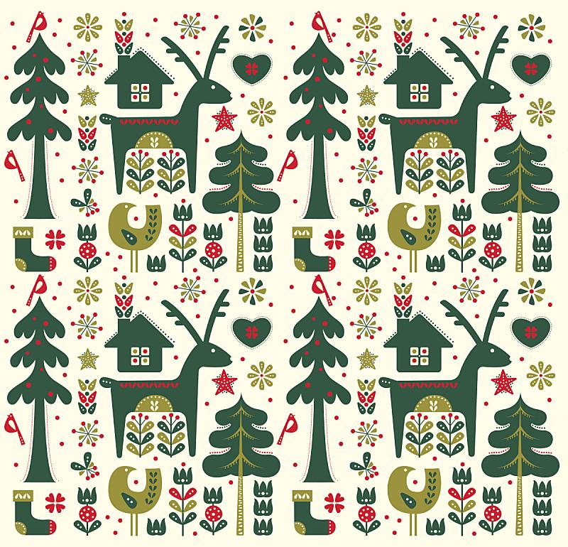 圣诞节,四方连续纹样,时尚,丹麦币,丹麦,袜子,无人,绘画插图,新年,鸟类