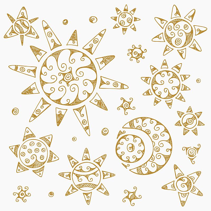月球,新月形,日光,符号,星星,动物手,月亮,行星月亮,太阳,阿兹特克文明