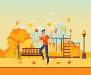 秋天,公园,青年男人,舞蹈,乐器,休闲活动,绘画插图,卡通,草,都市风景