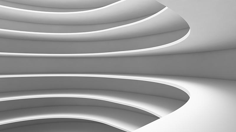空的,技术,三维图形,绘画插图,未来,式样,抽象,白色背景,室内设计师,弯曲