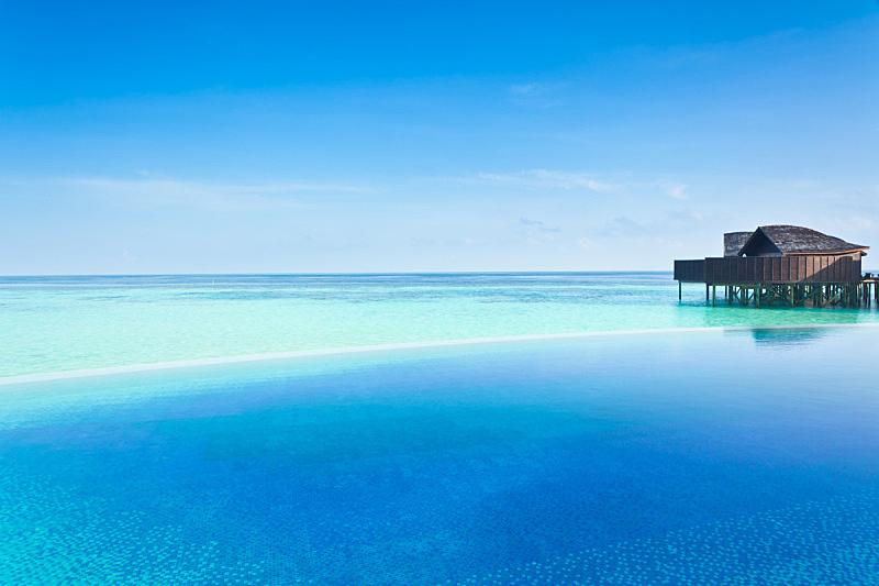 无边际泳池,水,宁静,水平画幅,印度洋,无人,假日别墅,海洋,马尔代夫,海滩